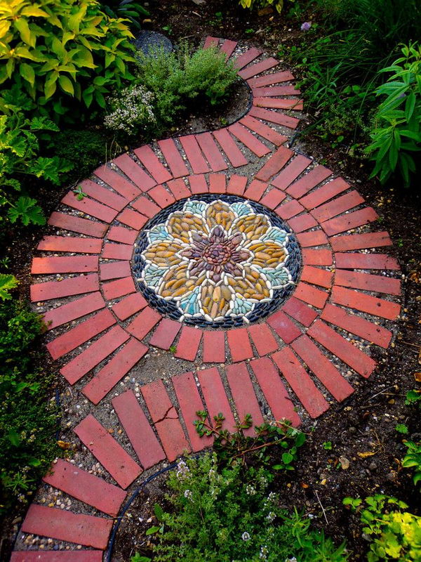 Brick Pathway with Pebble Mosaic for a Beautiful Look.
