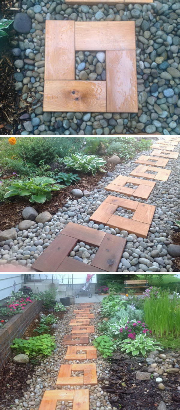 DIY Wood and Stone Pathway .
