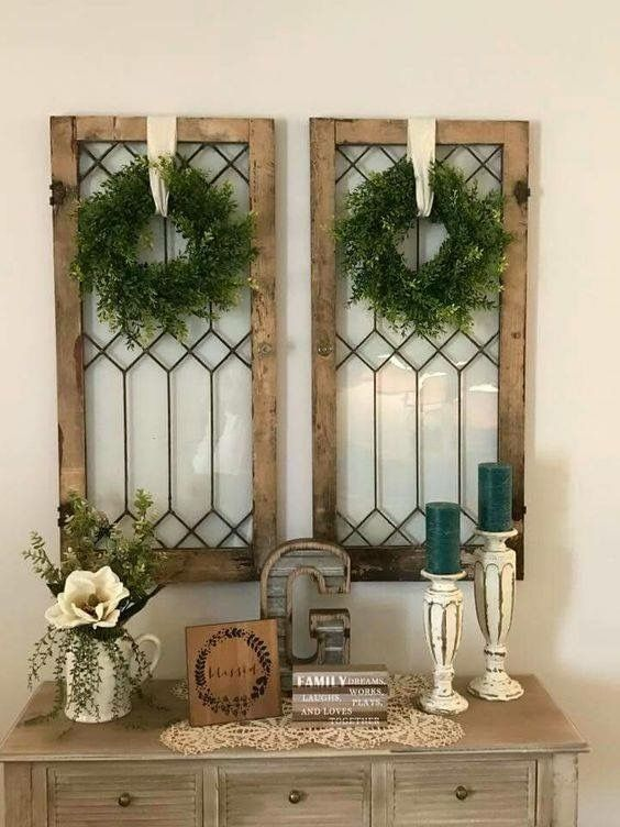 Old Windows Decorating A Blank Wall & 40+ Rustic Wall Decorations For Adding Warmth To Your Home - Hative