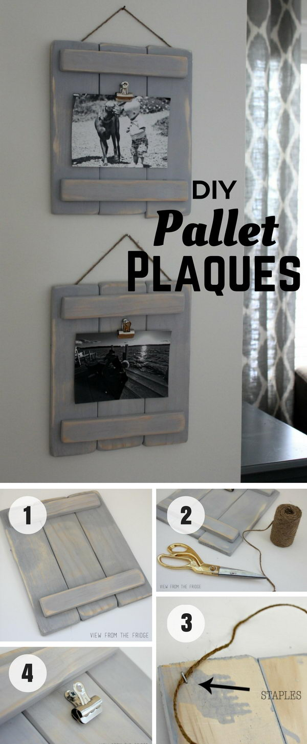 40 rustic wall decorations for adding warmth to your home hative use this rustic pallet plaques to show off your photos amipublicfo Gallery