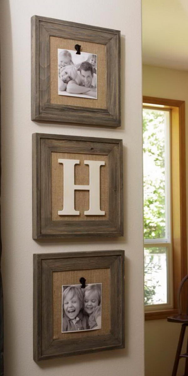 Reclaimed Wood Frames with Burlap.