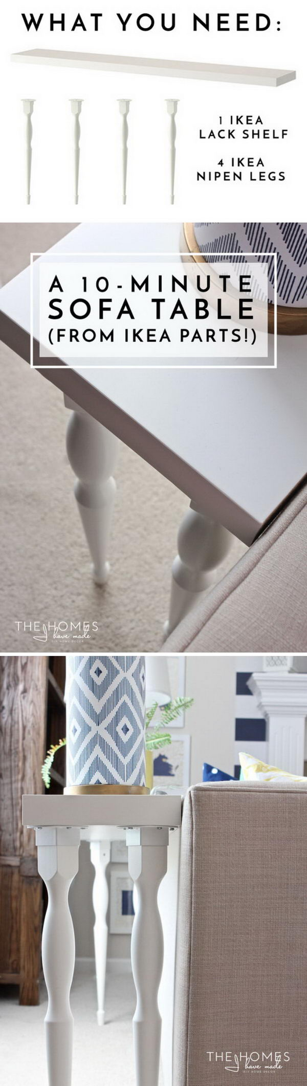 DIY Sofa Table Using Ikea Parts