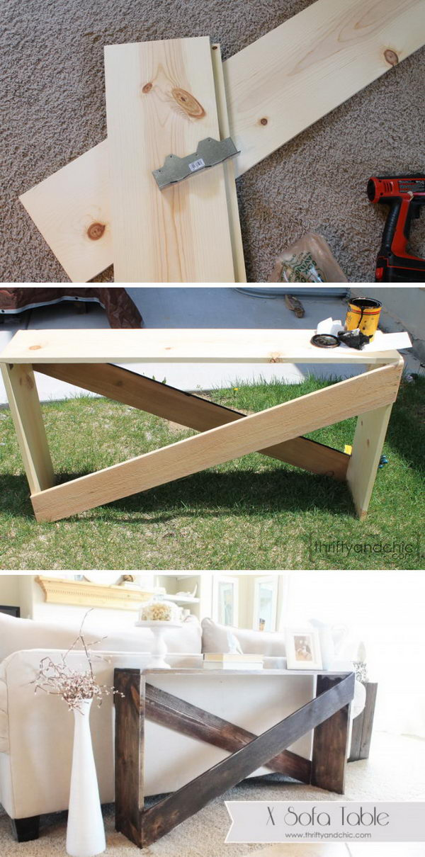 Incroyable Stylish And Simple DIY Sofa Table