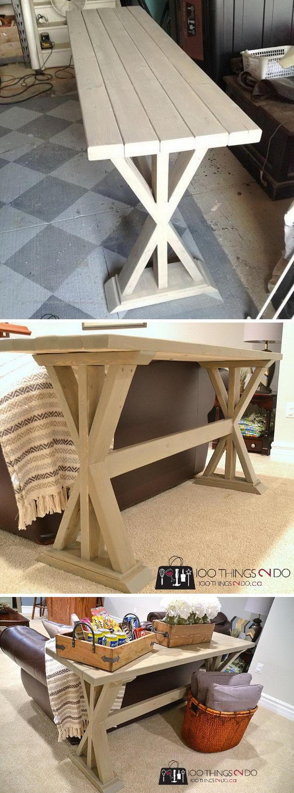 DIY X Sofa Back Table.