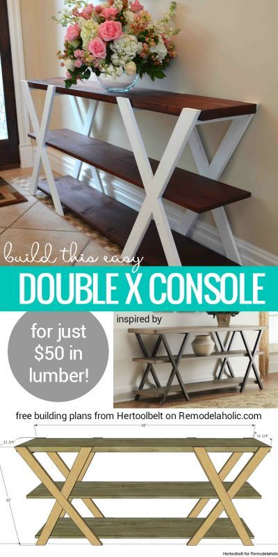 Double X Console Table.