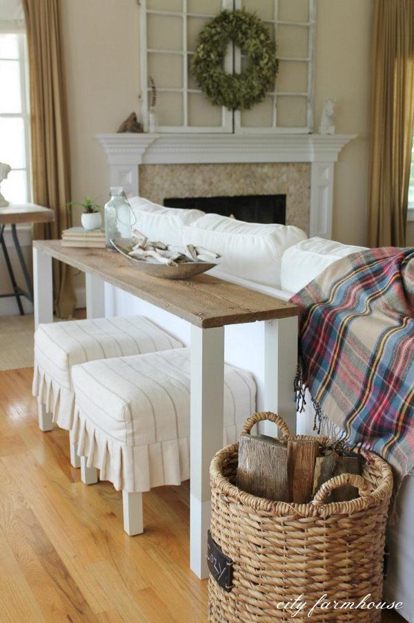 Easiest DIY Reclaimed Wood Sofa Table.