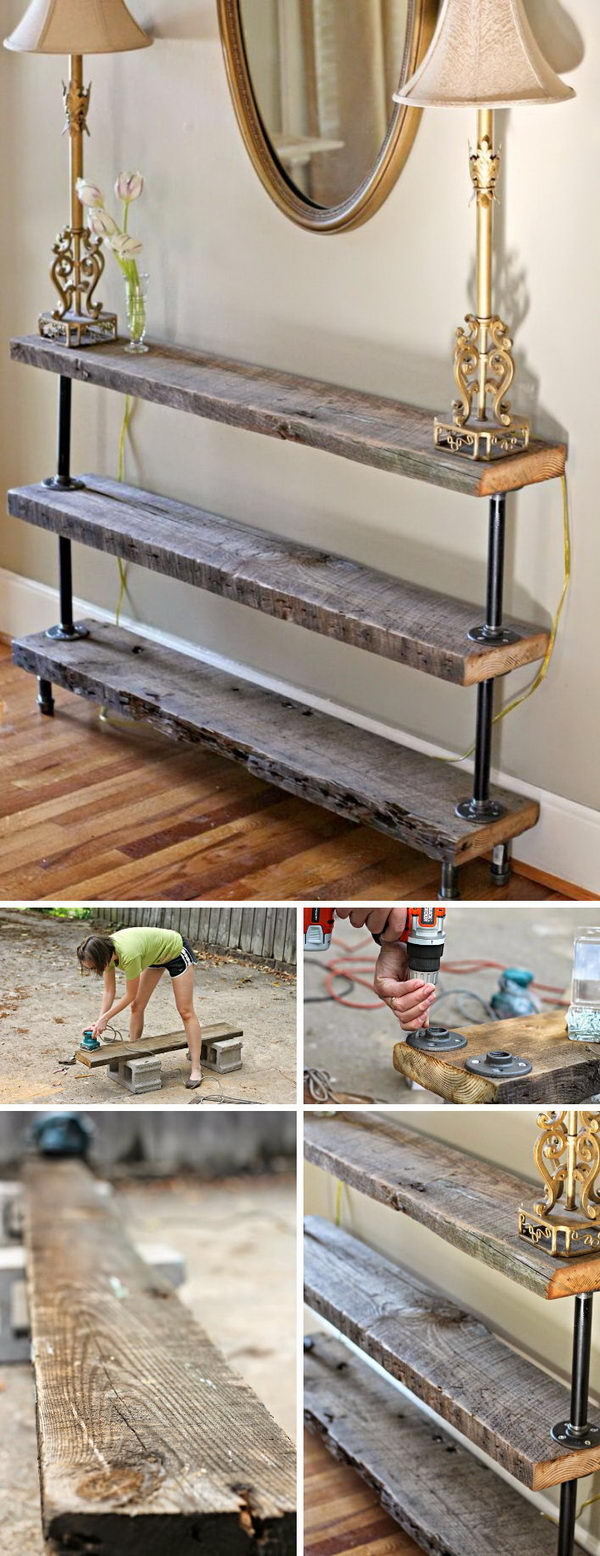 Easy DIY Reclaimed Wood Console Table