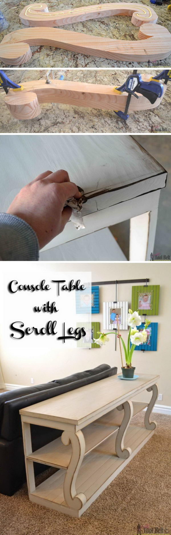 DIY Console Table With Scroll Legs.