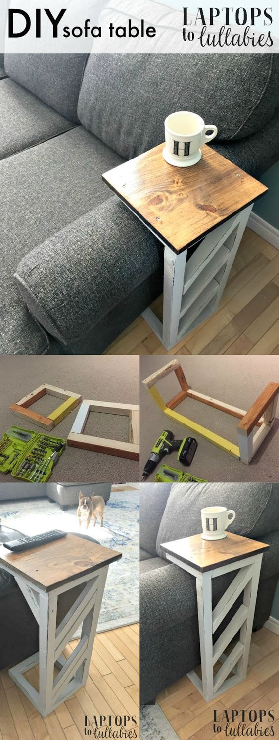 20 easy diy console table and sofa table ideas hative - Sofas en esquina ...