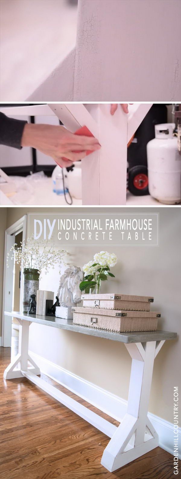 Milk Painted Industrial Farmhouse Console Table.