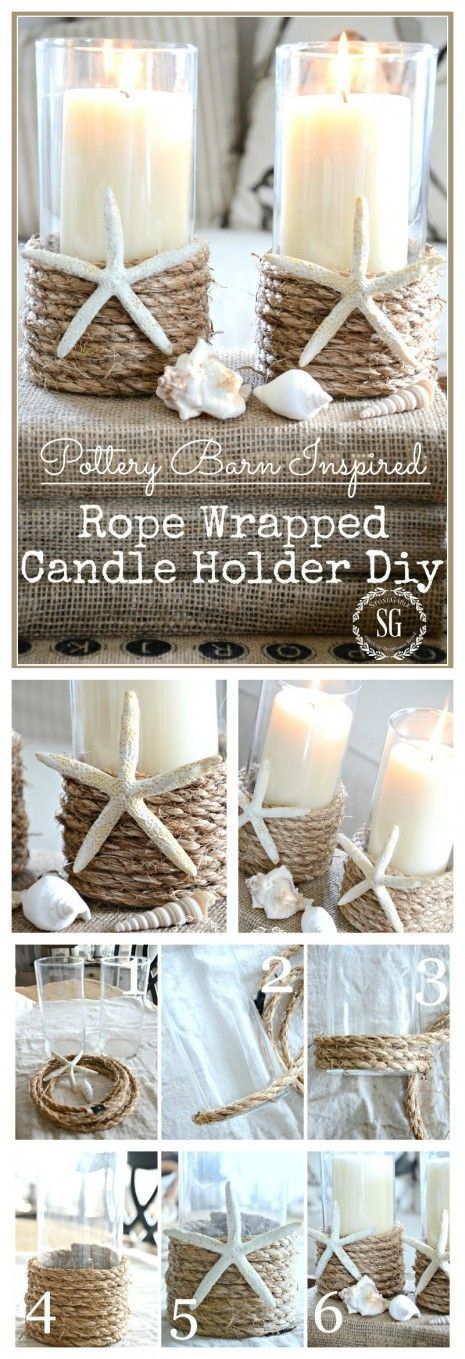 Pottery Barn Inspired Rope Wrapped Candle Holder.