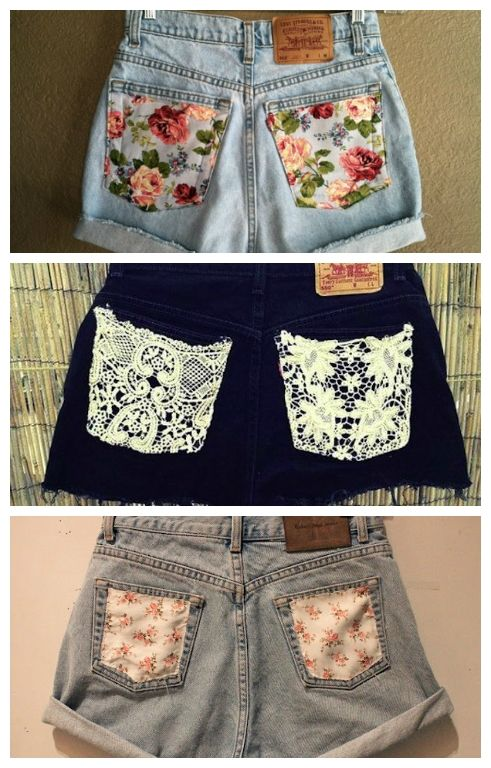 Add pretty fabrics or a bit of lace to transform a boring pair of shorts.