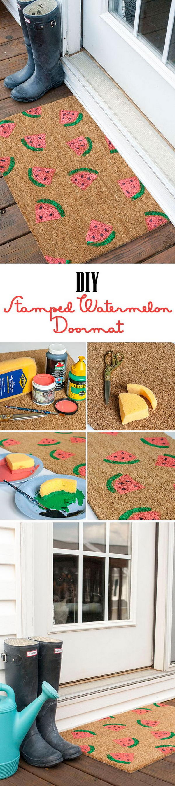 DIY Stamped Watermelon Doormat.