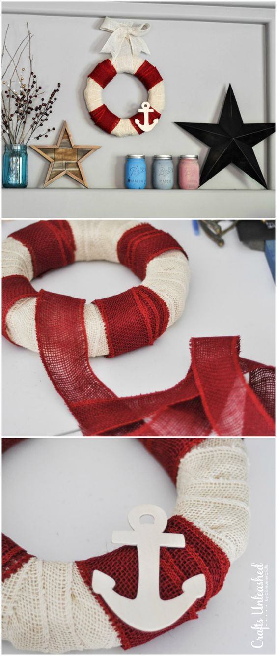 Nautical DIY Burlap Wreath in 5 Minutes.