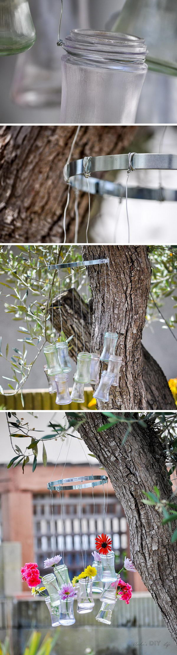DIY Recycled Glass Bottle Wind Chimes.