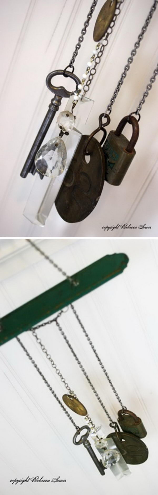 DIY Wind Chime from Upcycled Keys and Other Assorted Junk Items.