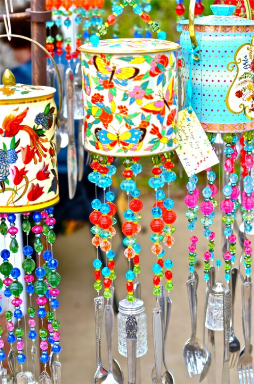 DIY Wind Chimes from Cans, Beads, and Silver Plate.