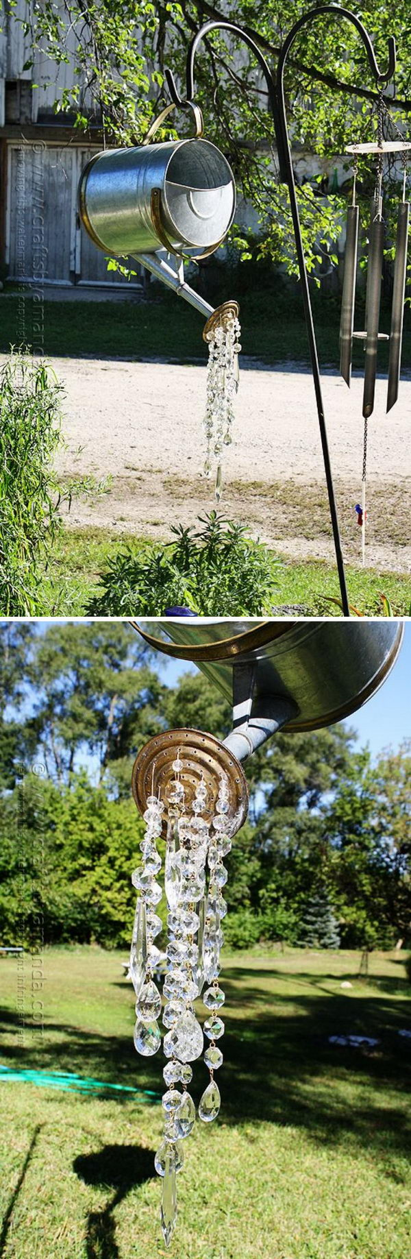 DIY Watering Can Wind Chime That Pours Crystals.