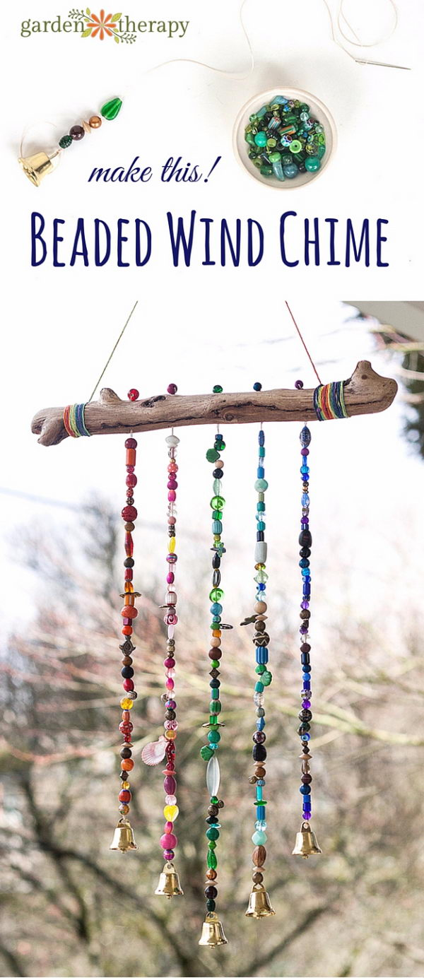 DIY Rustic Beaded Wind Chime.