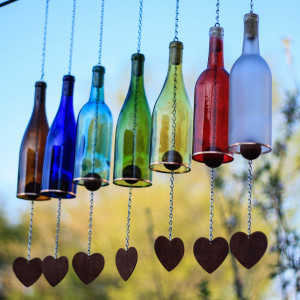 DIY Rainbow Wine Bottle Wind Chimes.