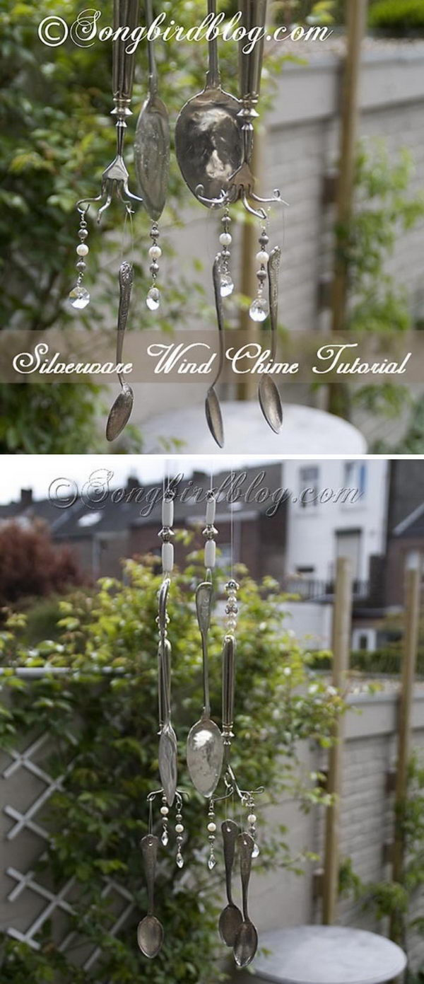 Vintage Silverware Wind Chimes .