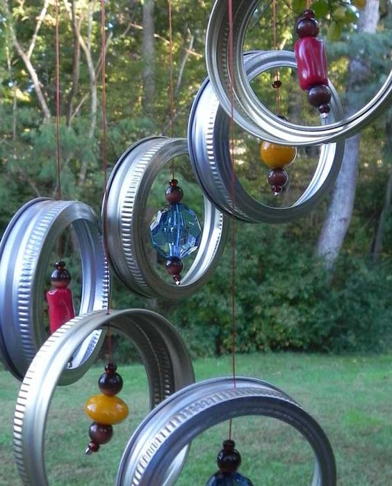 Wind Chime Made With Mason Jar Lid Rings.
