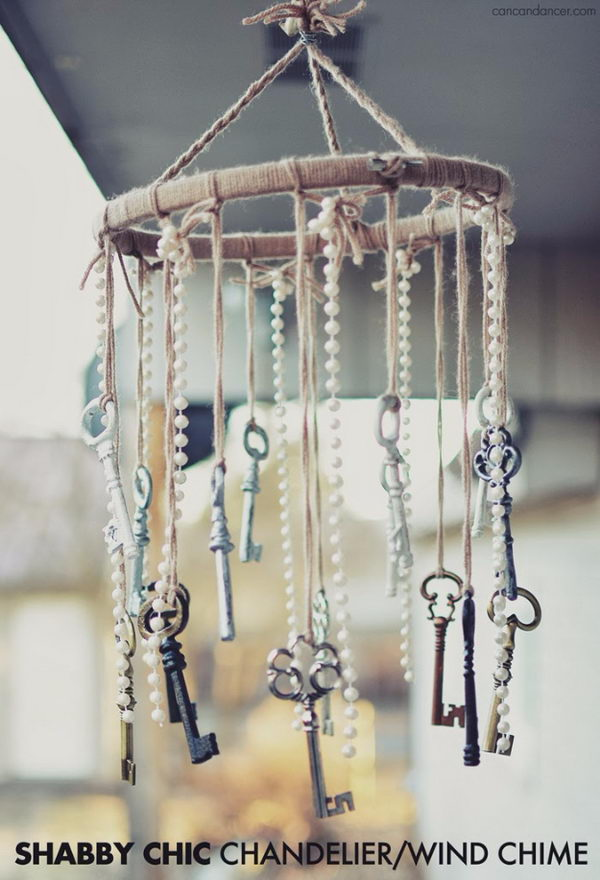 DIY Old Key and Faux Pearl Wind Chimes.