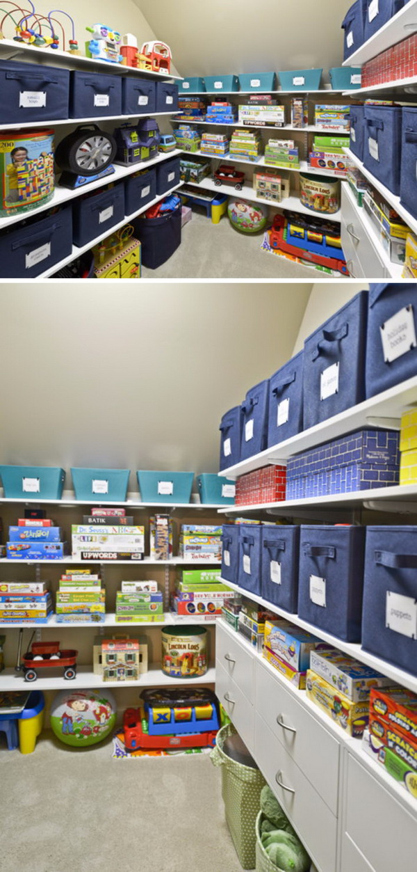 Arrange Storage Boxes With Labels On Open Shelves For Holding Kids' Toys.