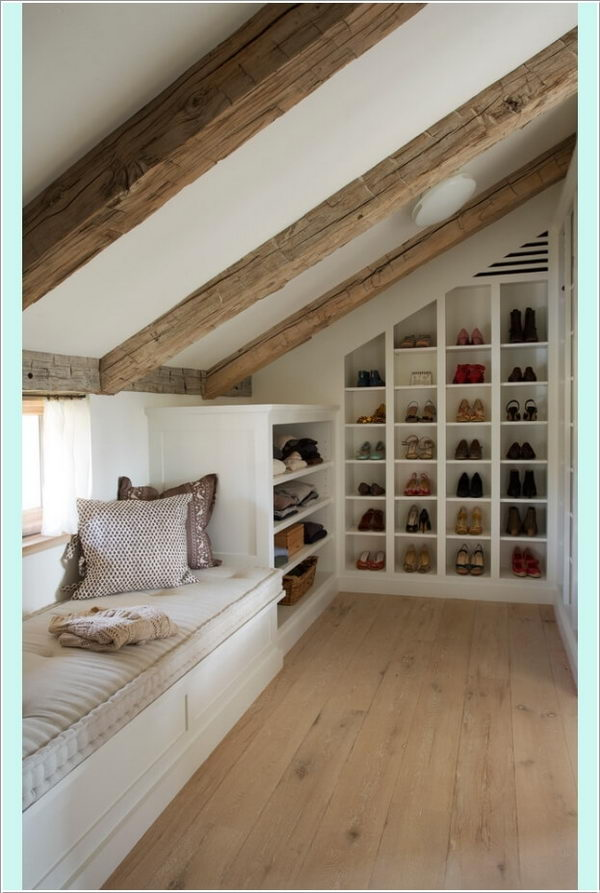 Build Shoe Cubbies in Slanted Walls and Window Seat with Bookshelf at One End.