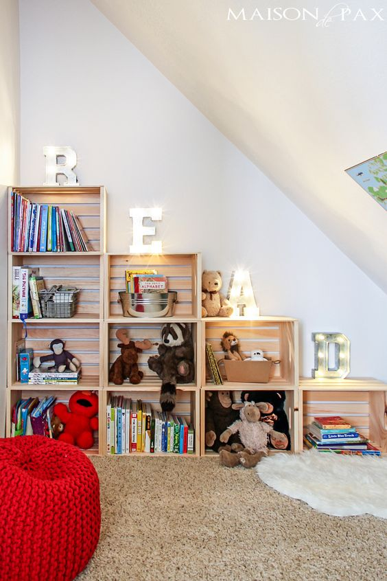 Use Wood Crate to Make Storage Shelving.