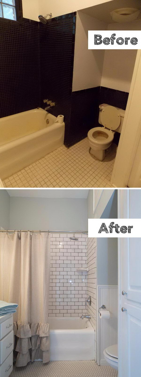 Install Subway Tiles Just Around The Tub and Paint Around The Bathroom.