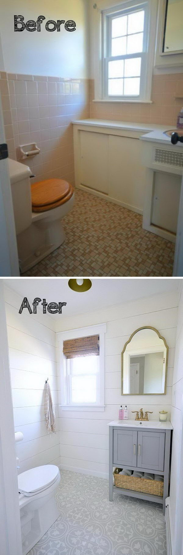 Allow The Bold Patterned Floor and The Gray Vanity to Stand Out with White Shiplap Walls Which Look Clean.