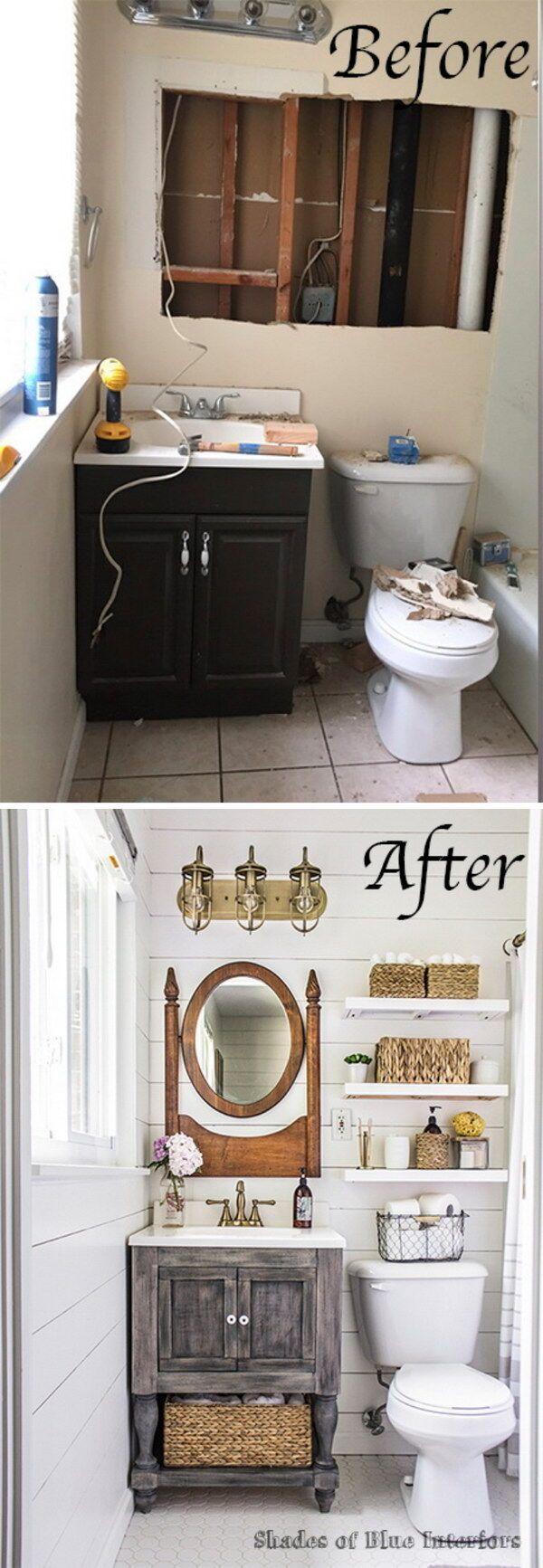 Farmhouse Bathroom Makeover.