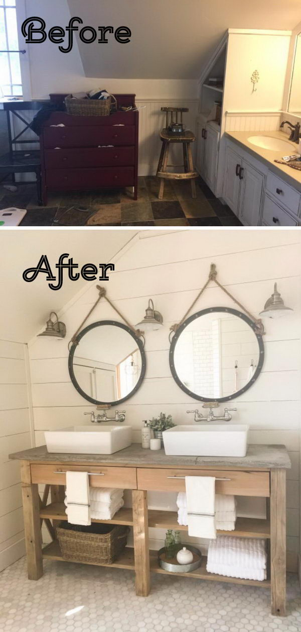 A Nature Feel Bathroom Makeover With White Shiplap Wall And Wood Vanity.