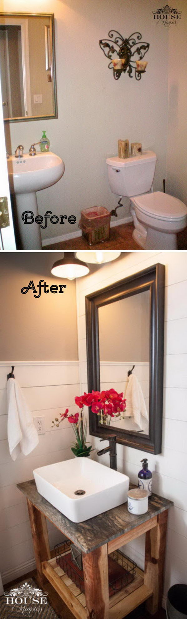 Powder Room Makeover With Shiplap Walls And A DIY Vanity.
