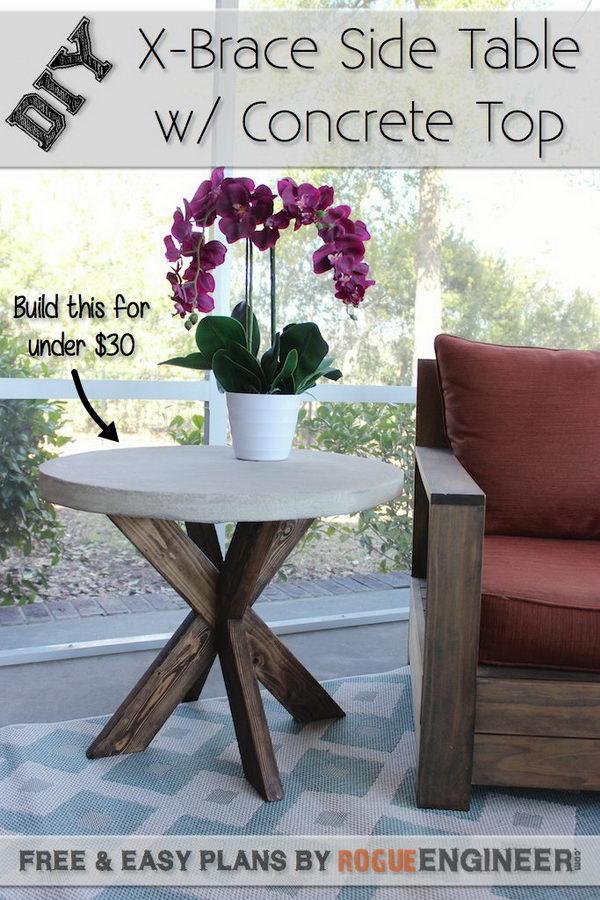 DIY X Brace Concrete Side Table.