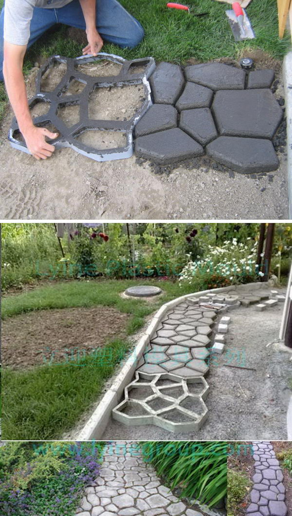 DIY Cobblestone Look Concrete Pathway.