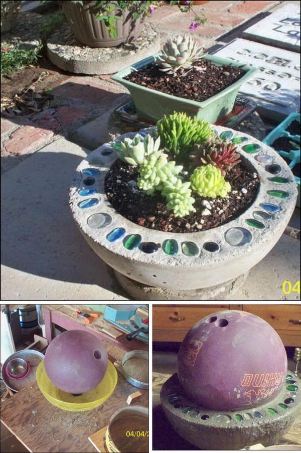 DIY Concrete Bowling Ball Planter.