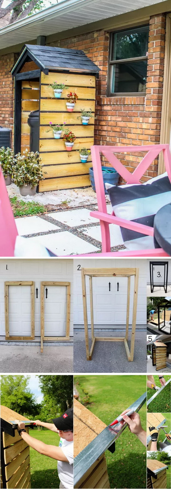 Build An Beautiful Trash Can Shed for Curb Appeal.