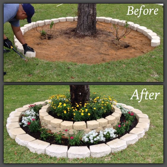 Spruce up Your Front Yard with Flower Bed around Tree.