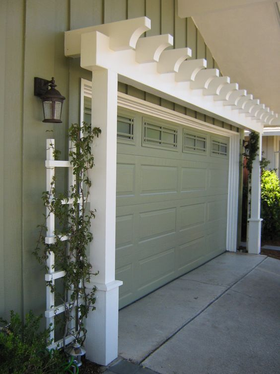 Add Character to the Garage with Arbor Painted to Match House Trim.