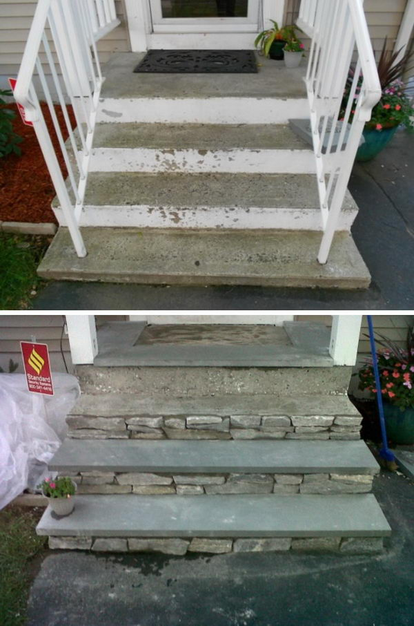 Reface Concrete Front Steps with Stone.