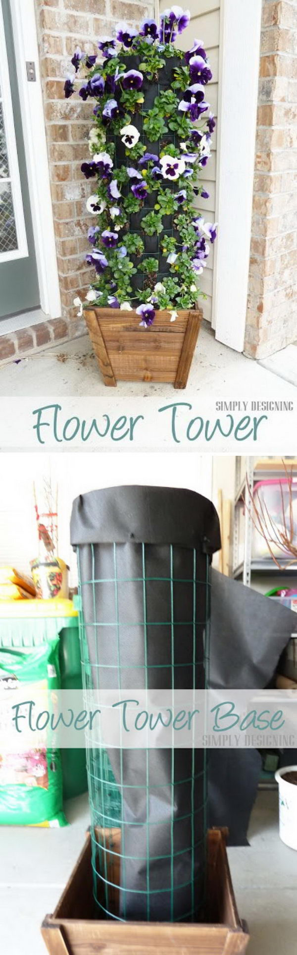 Liven Up the Front Door with This DIY Flower Tower.