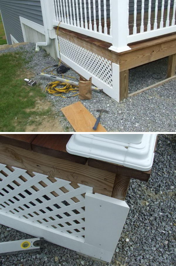 Add to Finishing Touches to Your Deck with DIY Lattice Porch Skirt.