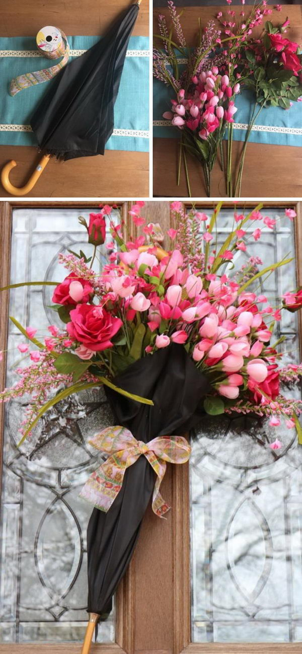 Decorate Your Front Door with An Umbrella Full of Flowers.