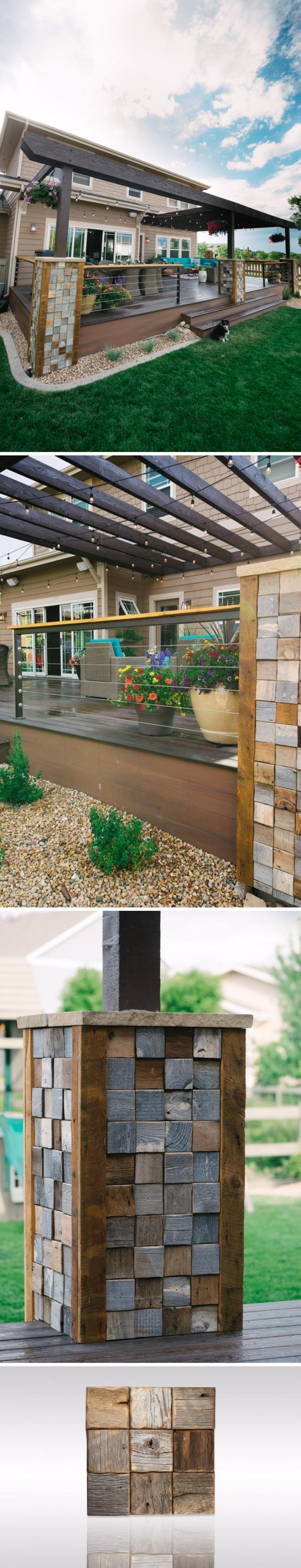 Wrap the Deck Posts with Barn Wood Tiles to Get a Different Look.