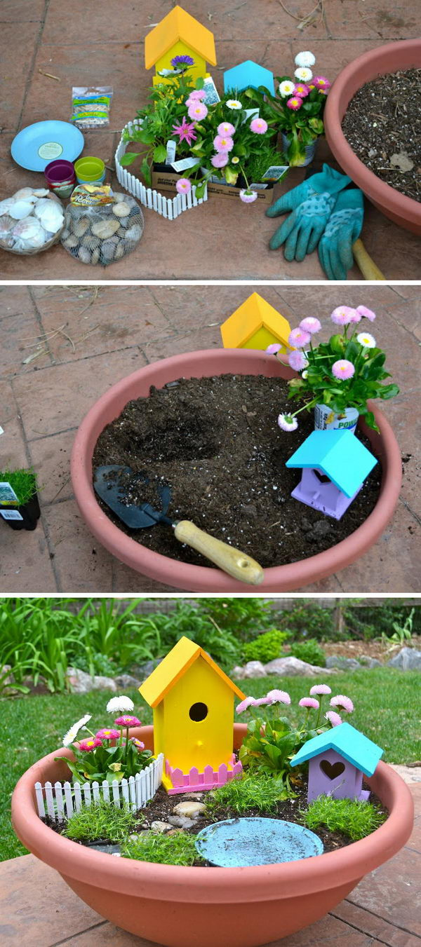 diy fairy garden installed in a larger and shallower clay pot