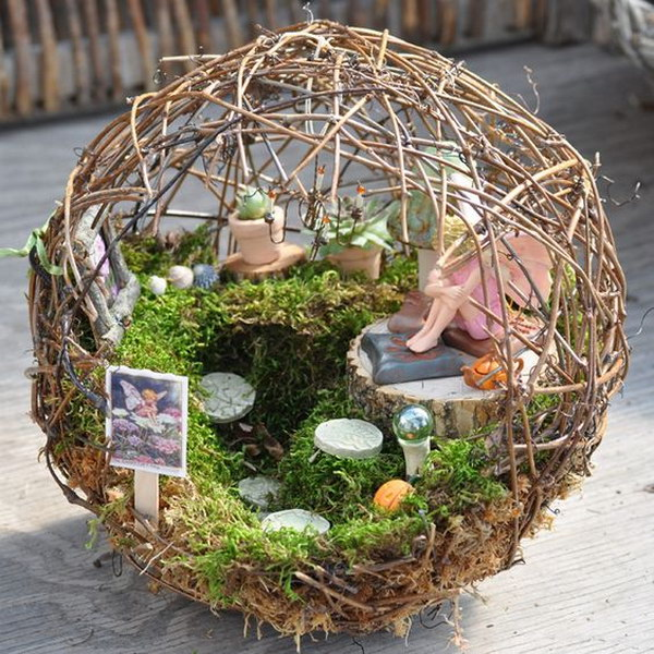 DIY Fairy Garden inside a Small Grapevine Sphere.