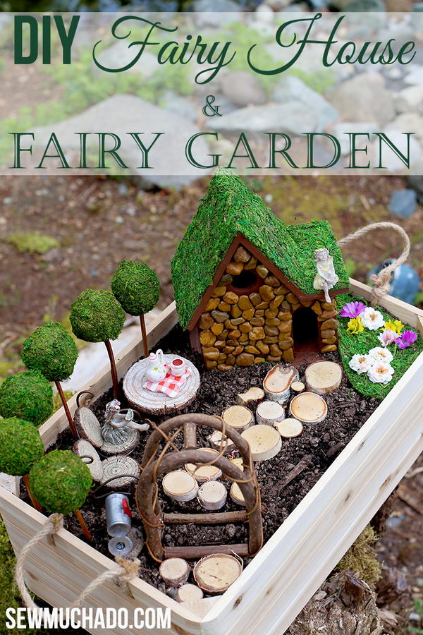 DIY Fairy House in a Wood Crate.