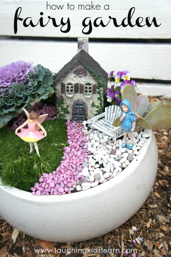 Colored Pebble Fairy Garden in a White Ceramic Pot.